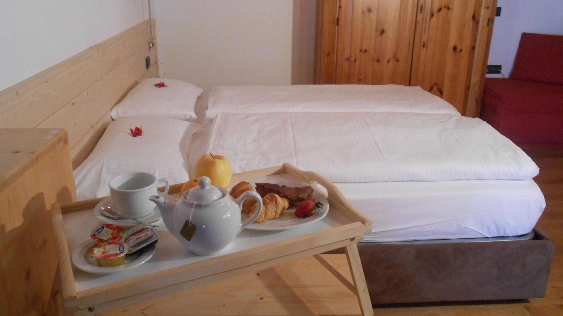 Double beds in the family room at Livigno
